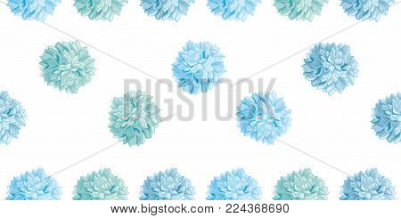 Vector Cute Pastel Blue Colorful Birthday Party Paper Pom Poms Set Horizontal Seamless Repeat Border Pattern. Great for handmade cards, invitations. Party decor.