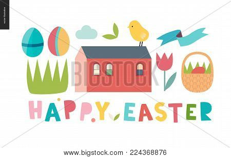Happy easter lettering surrounded with traditional elements - eggs, chicken, basket, tulip, grass, house and ribbon
