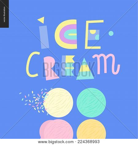 Ice cream lettering and four ice cream scoops