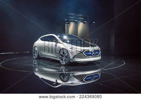 FRANKFURT, GERMANY - SEP 17, 2017: Mercedes-Benz Concept EQA - electric car at International Motor Show