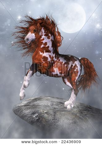 a wounderful horse on the rock