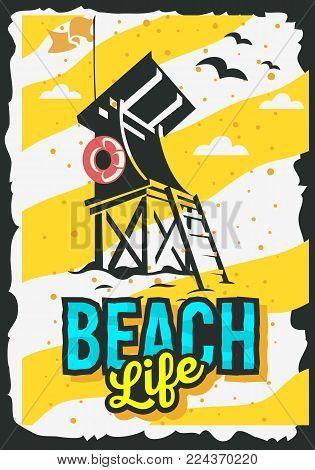 Beach Summer  Poster Design With Beach Lifeguard Rescue Tower  Illustration. Vector Graphic.