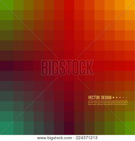 Abstract background with rhythmic overlapping squares. Transition and gradation of color. Vector blend gradient for illustrations, covers and flyer. Pixel green, red.