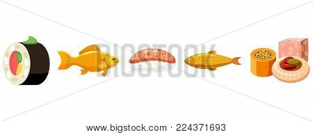 Fish food icon set. Cartoon set of fish food vector icons for web design isolated on white background