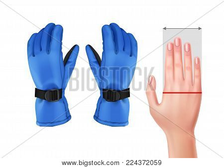 Vector illustration of measuring hand for gloves with blue ski gloves isolated on white background