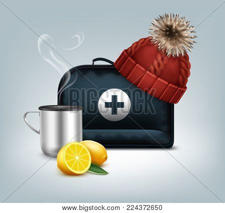 Vector first aid kit box with knitted red cap with pom-pom, hot thermo cup, steam and lemon isolated on background