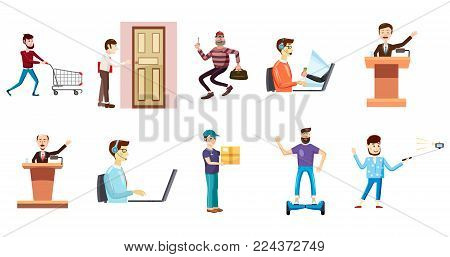 People with object icon set. Cartoon set of people with object vector icons for web design isolated on white background