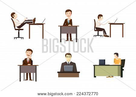 Man at desktop icon set. Cartoon set of man at desktop vector icons for web design isolated on white background