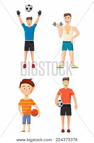 Sportsmen icon set. Cartoon set of sportsmen vector icons for web design isolated on white background