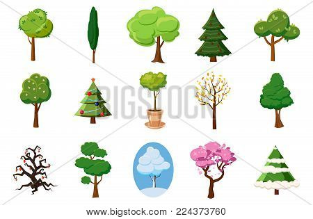 Tree icon set. Cartoon set of tree vector icons for web design isolated on white background