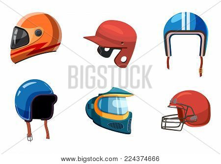 Sport helmet icon set. Cartoon set of sport helmet vector icons for web design isolated on white background
