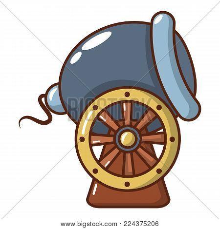 Ship cannon icon. Cartoon illustration of ship cannon vector icon for web.