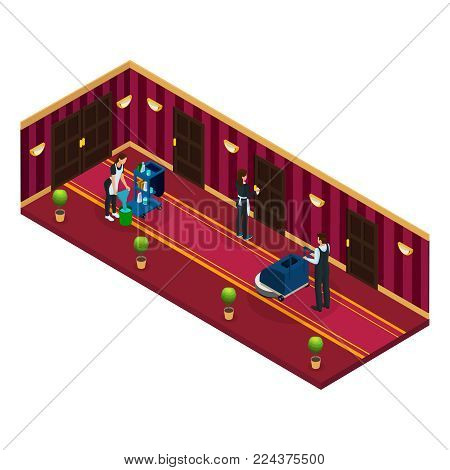 Isometric hotel cleaning service concept with maids professional equipment and worker with vacuum cleaner isolated vector illustration