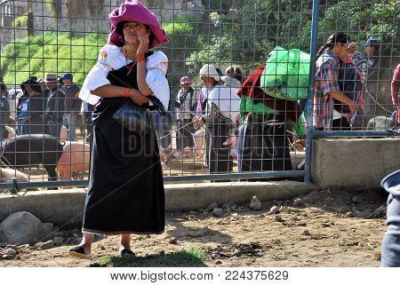 Otavalo, Ecuador January 2016: Scene at the local Farmer's Market in the outskirts of the city
