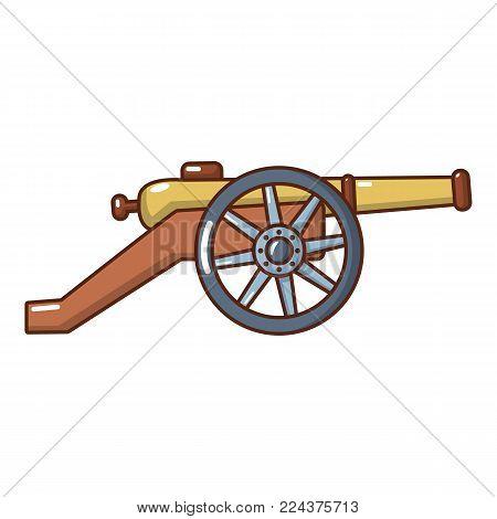 Coastal cannon icon. Cartoon illustration of coastal cannon vector icon for web.