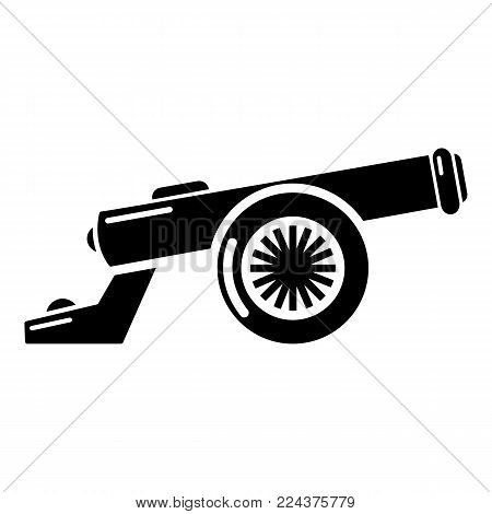 Cast-iron cannon icon. Simple illustration of cast-iron cannon vector icon for web.