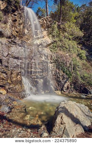 TROODOS MOUNTAIN, CYPRUS.The waterfall of Kalidonia close to Platres village, Troodos mountain, district of Limassol,