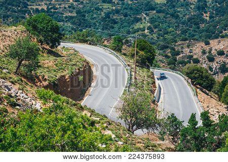 mountain landscape with road near Heraklion, Crete, Greece