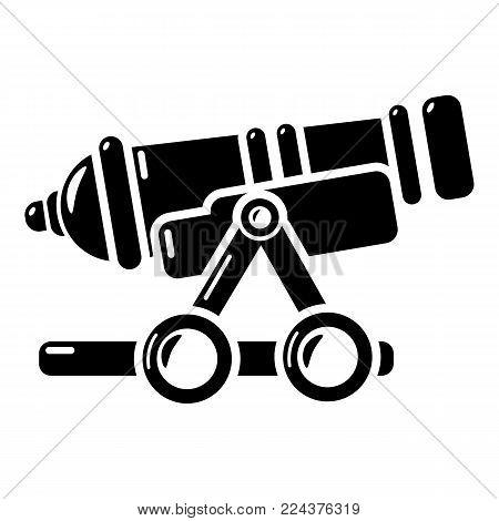 Coastal cannon icon. Simple illustration of coastal cannon vector icon for web.