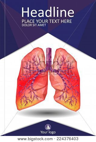 Cover Template For Books, Banner, Journal. Sick Human Realistic Lungs And Trachea In Low Poly. Pleur