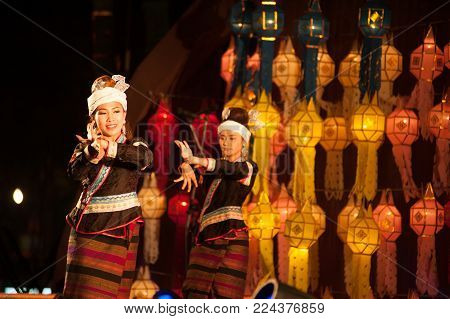 Bangkok Thailand - January 27 , 2017 : Unidentified Dancer Nail-covered Dance Is Northern Traditiona