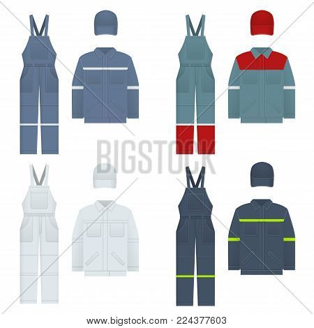 Vector illustration of men s overalls. Clothes in denim style, white, blue. Uniform for a worker, mechanic, driver, loader, mechanic. Design template Vector illustration