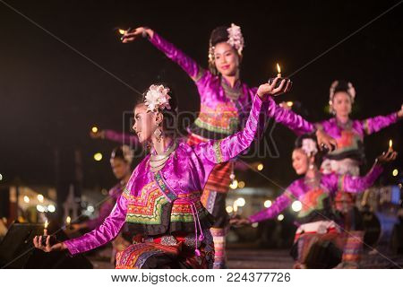 Bangkok, Thailand - Jan 21, 2018 : Unidentified The Votive Candle Dancer Is Northern Traditional Tha