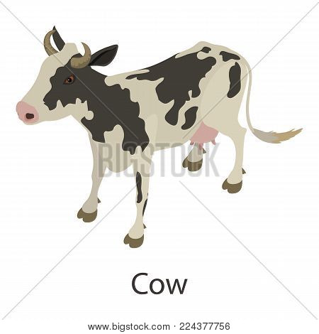 Cow icon. Isometric illustration of cow vector icon for web
