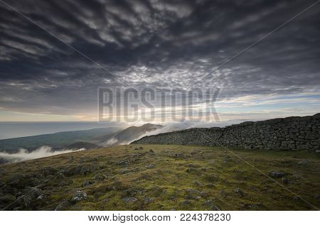 A picturesque view from the top of Slieve Donard, Northern Ireland.