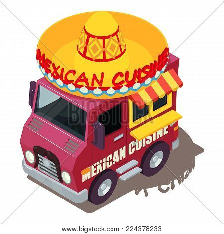 Mexican food machine icon. Isometric illustration of mexican food machine vector icon for web