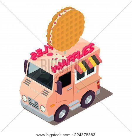 Waffles machine icon. Isometric illustration of waffles machine vector icon for web