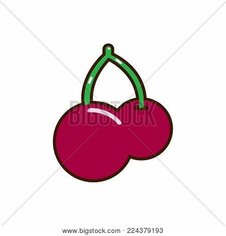 Red cherry vector icon. Unusual cherry design. Red cherry isolated on white background EPS