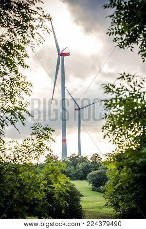 Wind Park with clouds in Mittelhessen, Germany