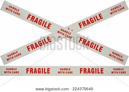 Photo of fragile tape used for securing delicate items for despatch