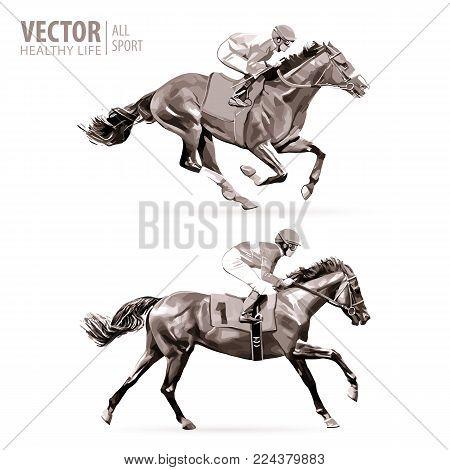 Jockey on horse. Champion. Horse racing. Hippodrome. Racetrack. Jump racetrack. Horse set Monochrome Isolated vector Illustration