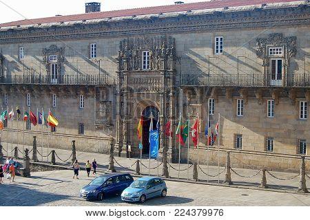 The former Royal Hospital (Hostal de Los Reyes Catolicos) is a 5-star Parador hotel today - Santiago de Compostela, Galicia, Spain, 4 September 2007