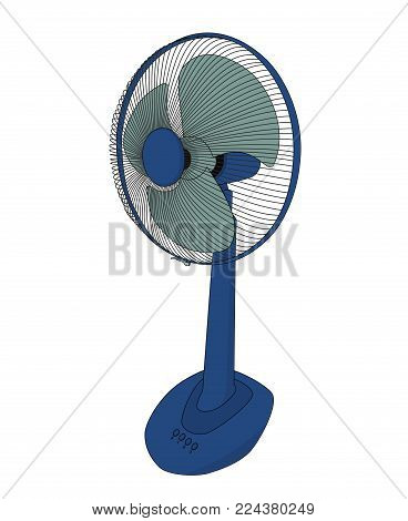 Blue electric fan on white background, illustrations design
