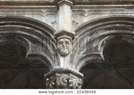 Detail of a carved face on medieval abbey