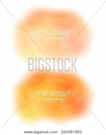 Set of 2 bright stains. Pseudo watercolor. Paint texture. Colorful daub. It can be used as background for text for card, cover, invitation, banner, T-shirt. Orange and yellow colors. Vector, eps10