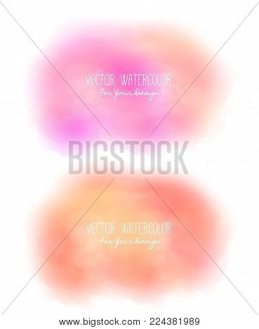 Set of 2 bright stains. Pseudo watercolor. Paint texture. Colorful daub. It can be used as background for text for card, cover, invitation, banner, T-shirt. Red and pink colors. Vector, eps10