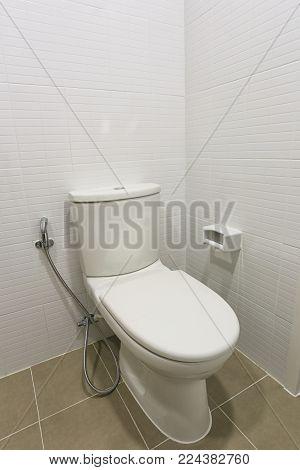 Modern Toilet Bowl In A Men Bathroom,white Ceramic Flush Toilet For Men In Toilet Room.