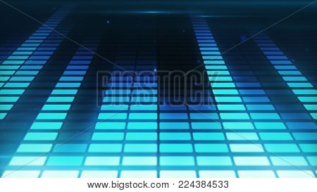 Music control levels in blue color bars. Audio equalizer bars moving. More options in my portfolio. 3d illustration