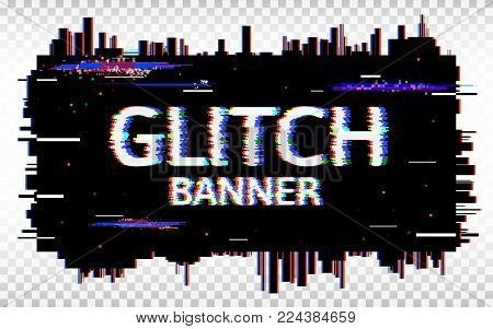 Glitch banner. Distorted glitch Font. Trendy design template with colorful geometric shapes and pixels. Abstract pixel noise effect. Vector illustration.