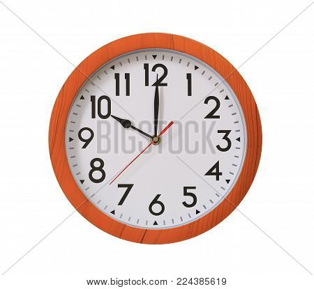 clock of pattern brown wood in ten o'clock isolated on white background and have clipping paths with create from pen tool function.
