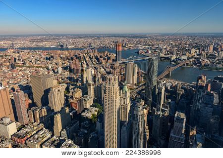Aerial view of Skyline with Skyscrapers in Downtown Manhattan and Lower Manhattan, New York City, USA.