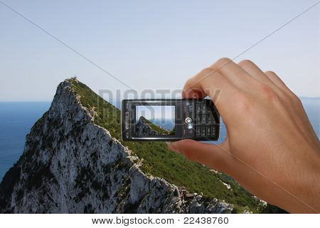 Mobile Phone With Hand On White