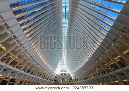 New York, NY, USA - October 19, 2017: Inside of World Trade Center Transportation Hub: World Trade Center Transportation Hub is the a large transit station for PATH rail service and retail complex.