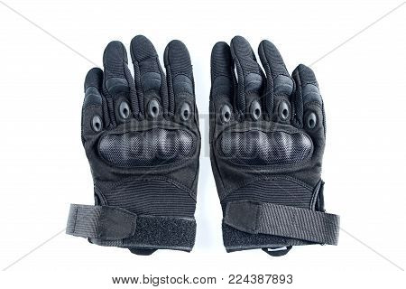 Tactical Military Motorcycle Bicycle Airsoft Hunting Full Finger Gloves isolated on white background