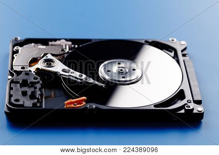 Open HDD on a blue background