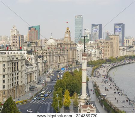 Shanghai, China - Nov 15, 2017: View of The Bund in Shanghai in the morning. It is a waterfront area in central Shanghai with many historical buildings built by former foriegn settlements.